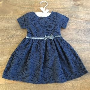 Navy lace Carter's holiday dress.